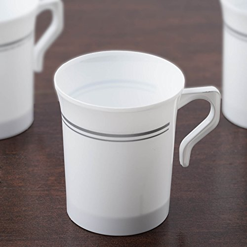 Efavormart 40 Pcs - White with Matte Silver 8oz Disposable Plastic Coffee Cups for Wedding Birthday Events - Antique Collection