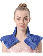 Aroma Season Neck and Shoulder Heat Pad Neck Warmer Microwave Neck Pillow for Neck Pain Heating Pad (Blue)
