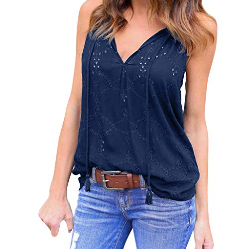 Solid Hollow Out Vest, QIQIU 2019 Sexy Womens Sleeveless Casual Fashion V-Neck Pullover Summer T-Shirt Tops Blouses Navy