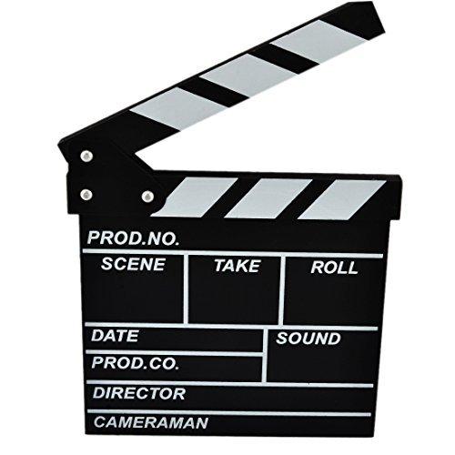 Yamix Clapboard, Wooden Clapboard Director Film Movie Cut Action Scene Slateboard Clapper Board Slate - Black -