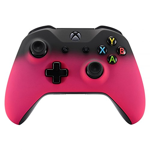 eXtremeRate Shadow Rose Red Faceplate Cover, Soft Touch Front Housing Shell Case, Comfortable Soft Grip Replacement Kit for Xbox One S & Xbox One X Controller