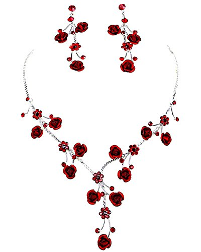 (Faceted Metal Rose & Crystal Rhinestone Necklace & Earring Set for Bridal, Prom (Red))