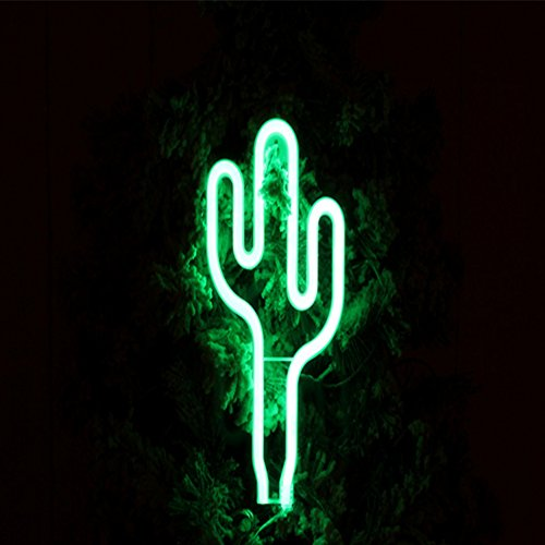 Neon Light,LED Cactus Sign Shaped Decor Light for Wedding Birthday Party Bedroom Table Gift Kids Toys Decor Decorations Valentines Christmas Gift( battery and USB 2 in 1) (Style 1) by QZC (Image #5)