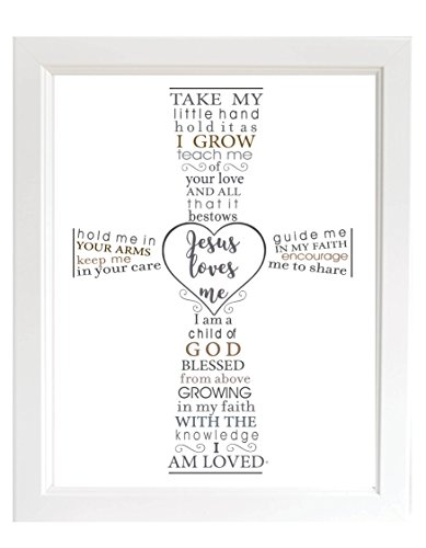 The Grandparent Gift Jesus Loves Me Frame for Baby's Baptism or Christening, White Frame