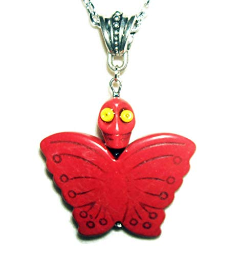 RED MARIPOSA BUTTERFLY Necklace Pendant SUGAR SKULL DAY OF THE DEAD Silver Pltd ()