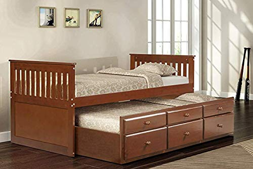 Hooseng, Captain s Twin Daybed Bed, 3 Spacious Storage Drawers Multi-use Underside Trundle, Walnut