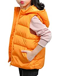 Zhhlinyuan Jacket Down Vest Kids Waistcoat Removable Hood - Sleeveless Quilted Puffer