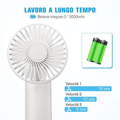 isYoung Mini Ventilatore Portatile - USB 4000mAh Batterie Ricaricabili Ventilatore Portatile Portatile 8-18 Ore di Lavoro Mini Ventilatore per Ufficio e Viaggio - Bianco