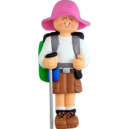 Personalized Hiker Christmas Tree Ornament 2019 - Nature Hiking Lover Active Girl Walk Trekking Poles Backpack Group Outdoor Hobby Trail First Cliff Mountain - Free Customization (Female)