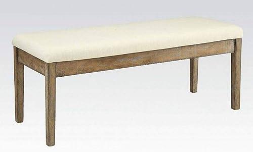 Acme Furniture Bench, Beige Linen Salvage Brown