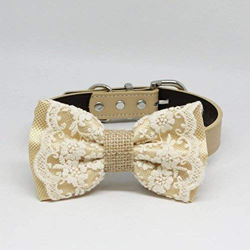 Lace Dog Bow Tie collar, Burlap, Rustic, Country, Pet wedding accessory, - Country Accessories Wedding