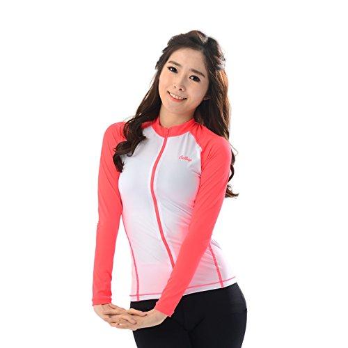 belleap UV Protection Women's Compression Long Sleeve Zip up Sportswear Swimsuit Medium Neon pink