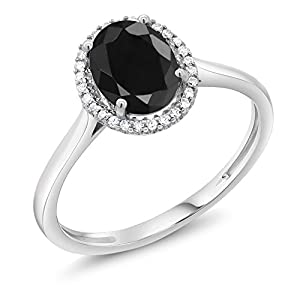 10K White Gold Diamond Halo Engagement Ring set with 1.66 Ct Oval Black Sapphire (Available in size 5, 6, 7, 8, 9)