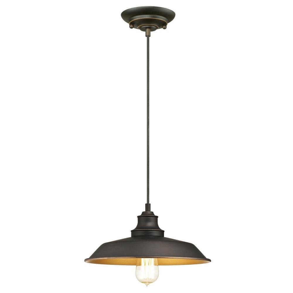 Westinghouse 6344700 Iron Hill One-Light Indoor Pendant, Oil Rubbed Bronze Finish with Highlights and Metal Shade