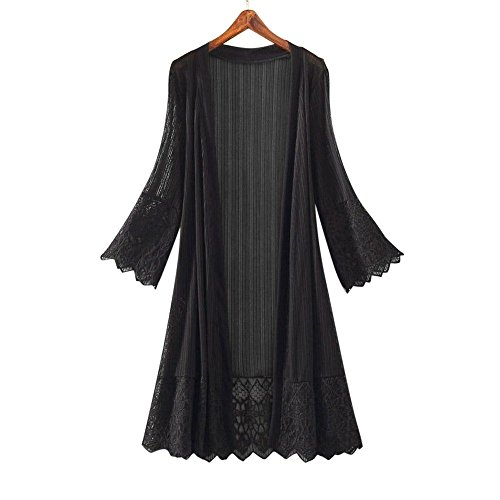 (SMALLE Fashion Casual Perspective US Long Section Women Long Sleeve Lace Top Blouse T-Shirt Smock (XXL, Black))