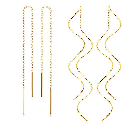 Thunaraz Stainless Steel Tassel Threader Dangle Drop Earrings for women girls lightweight Golden Tone