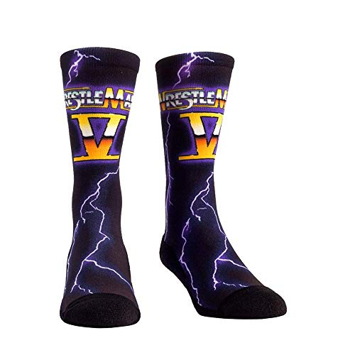 WWE Iconic Graphics Rock 'Em Socks (L/XL, WWE WrestleMania 5 Lightning)