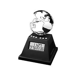 StealStreet SS-KD-8646 Solar Powered Spinning Globetrotter Alarm Clock, 5 3/4
