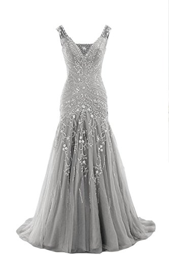 Uryouthstyle 2017 Crystals Mermaid Mother of The Bride Dresses Long Prom Gowns US 24w Silver