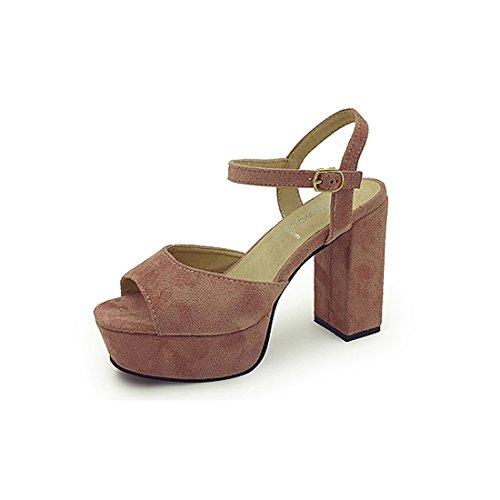Supshark--Plate-forme Sandales compensées pour femmes Talons hauts Summer Open Toe Strap Buckle Sandales (38 EU, Khaki) Rose