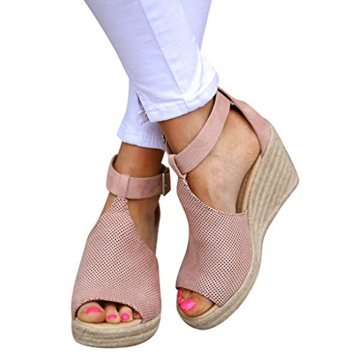(Xinantime Summer Large Size Sandals Fish Mouth Shallow Mouth Breathable Hollow Slope with Single Shoes Casual Beach Sandals Pink)