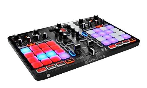 Hercules – HERCULES P32 DJ – Controlador DJ – PC / Mac – Dos decks con interfaz de audio integrada y 32 pads para hacer mezclas creativas