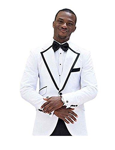 Lapel Tuxedo Suit (AK Beauty Fashion White Notch Lapel Men's Suits Slim Fit Wedding Suits 2 PC Groom Tuxedos)