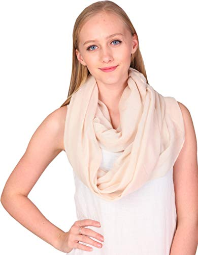 (Light weight Plain Solid Infinity Scarf For Women Round Circle Loop 36x36(2) Inches Beige)