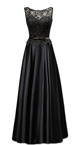 Butmoon Women's Lace and satin Sleeveless Black Long Prom Evening Gown