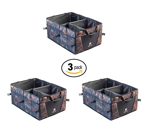 Unit Tool Camo - Busy Life Truck Storage Container 3-Pack Camouflage Cargo Tote is Great for Holding Tools and Supplies. Rugged and Durable. Folds Flat for Easy Storage. Never Slides Around. (3 Units)