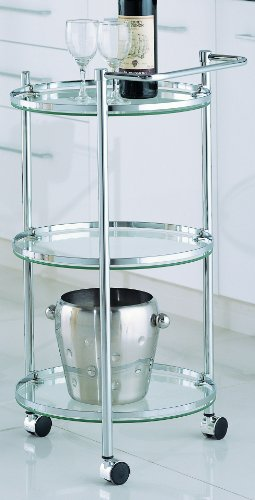 Organize It All Rolling 3 Tier Glass Circular Serving Cart