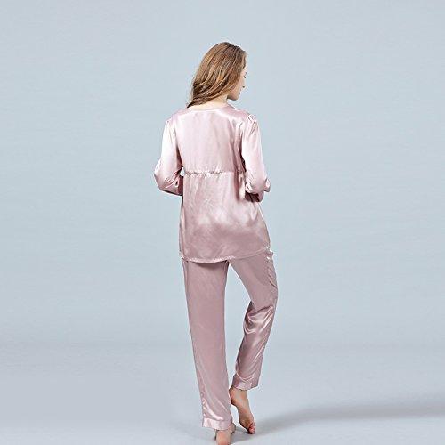 LULUSILK Conjunto de Pijama Largo de Seda 19 Momme Escote V y Puño Blanco con Cordón Ciruela Clara