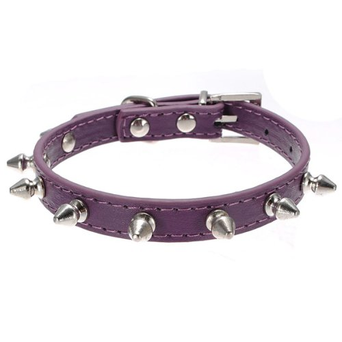 Cheap Adjustable Pet Cat Dog PU Leather Rivet Spiked Studded Collar Buckle Neck Strap,M:11.8″-14″(fits neck),purple