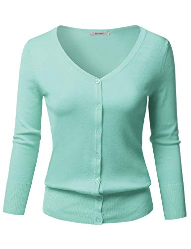 Solid Button Down V-Neck 3/4 Sleeves Knit Cardigan Ice Blue 2XL ()