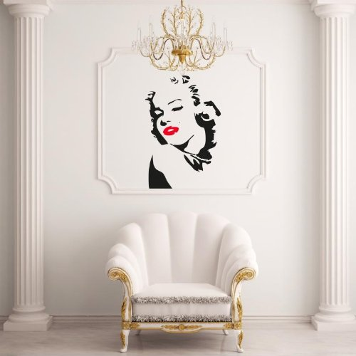 Adesiviamo Marilyn Monroe Mouth Red de Pared Tatuajes Vinilo Wall ...