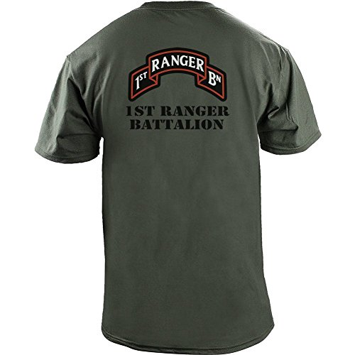 - Army 1st Ranger Battalion Full Color Veteran T-Shirt (M, Green)
