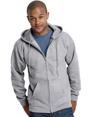 Hanes 10 oz ULTIMATE COTTON Full-Zip Fleece Hood (Spandex Thermal Sweatshirt)
