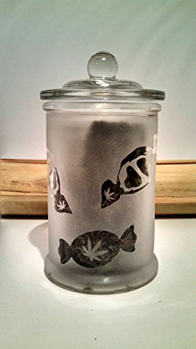 Twisted420Glass Cannabis Candy Jar Etched Glass Medicated Candy Stash Jar - Marijuana Edibles Candy Dish