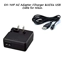EH-70P AC Adapter/Charger + UC-E6 USB Cable For Nikon Coolpix S3600, S5200, S9500 Digital Cameras...