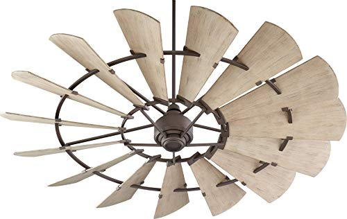 Quorum 197215-86 Windmill Ceiling Fan in Oiled Bronze with UL Damp Weathered Oak Finished Blades ()