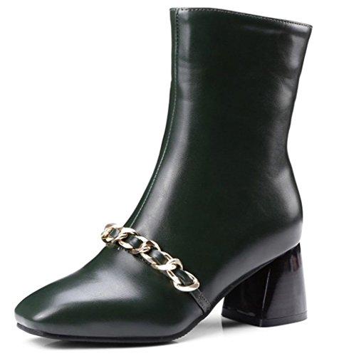 Mit Kunstleder Blockabsatz Metallic Grün Kette Halbschaft Aisun Damen Reißverschluss Stiefel 0nqgxR0