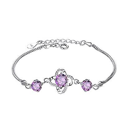 Private Twinkle 925 Sterling Silver Bracelet Made with Shiny Purple Zirconia for Women Girls