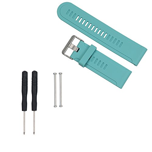Weinisite Watch Bands Soft Silicone Strap Replacement Watch Band With Tools For Garmin Fenix/Fenix2/Fenix3/Fenix3 HR/Quatix/Quatix3/Tactix Sports Watch Straps (Teal)