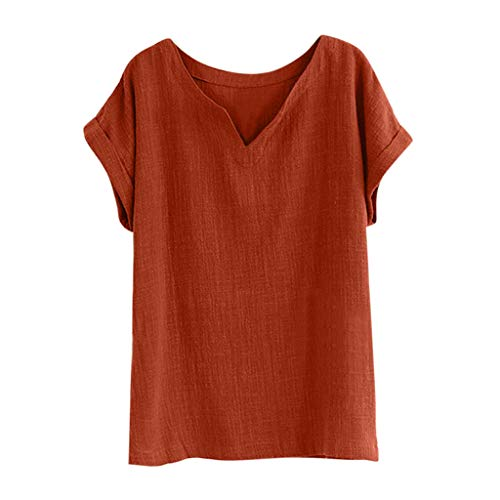 QIQIU V-Neck Cotton Linen Tops Womens 2019 Casual Short Sleeve Loose Tank Shirt Solid Summer T-Shirt Orange