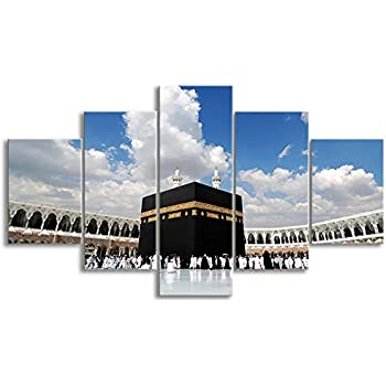 KALAWA Modern Islamic Wall Art Painting on Canvas Posters Prints Pictures for Living Room Home Decor HD Prints Pictures Wooden Framed Stretched(70''W x 40''H)
