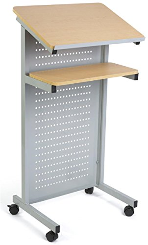 Displays2Go Wheeled Speaking Stand with Privacy Panel & Shelf, Locking Wheels, Steel & MDF Construction – Maple & Silver (LCTMOSVMETM) by Displays2go
