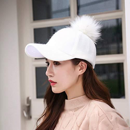 Achun Mütze Hut weibliche Herbst und Winter Wilde Flut wollene Baseballmütze zerlegt Haarkugelkappe (Farbe  Weiß, Größe  (54-58cm))