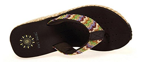 Mujeres Stripes Tricot Platform High Heels Wedges Sandals Thong Slippers Marrón