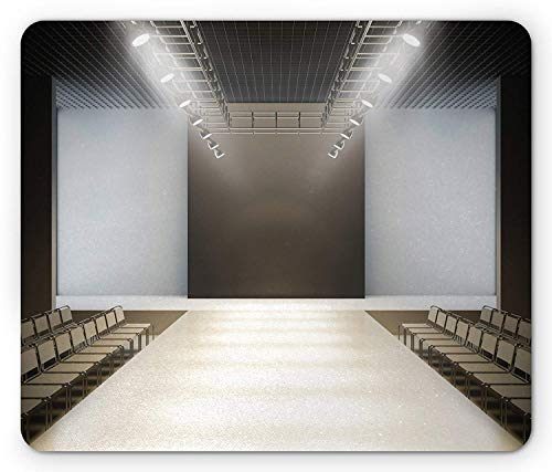 Girls Mouse Pad, Photo of Empty Fashion Runaway in Building with Catwalk Fashion Show Theme Print, Standard Size Rectangle Non-Slip Rubber Mousepad, Silver Grey,9.8 x 11.8 x 0.118 Inches