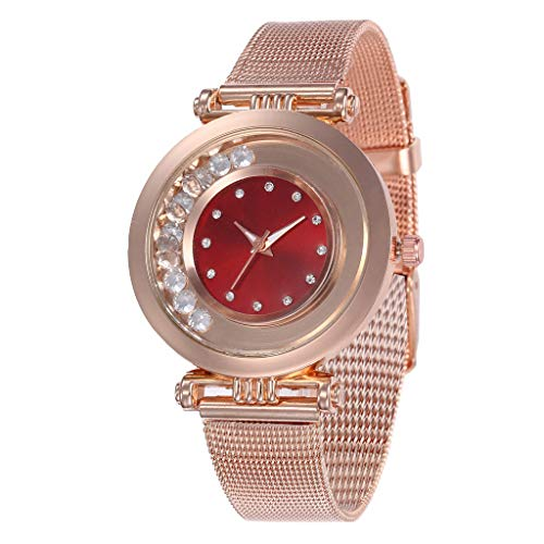 (Women Watches Luxury Classic Stainless Steel Crystal Waterproof Casual Dress Quartz Wrist Watch (Red, Free size))